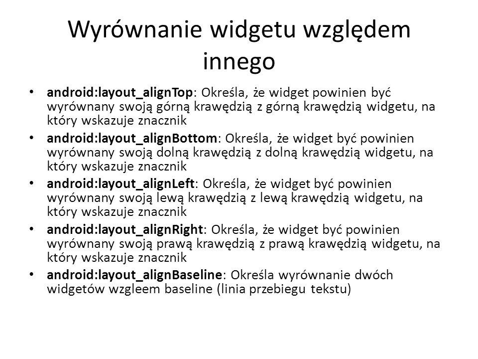 Wyrównanie widgetu względem innego
