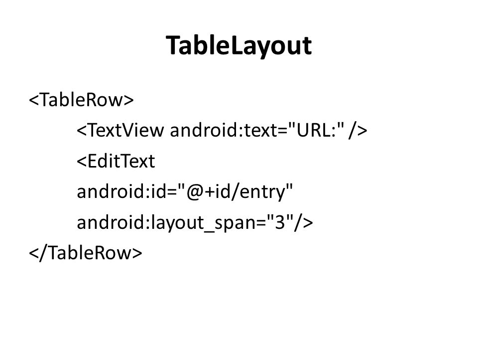 TableLayout <TableRow> <TextView android:text= URL: /> <EditText android:id= @+id/entry android:layout_span= 3 /> </TableRow>