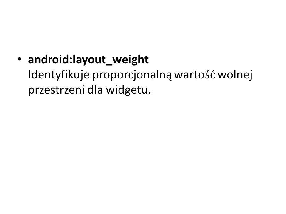 android:layout_weight Identyfikuje proporcjonalną wartość wolnej przestrzeni dla widgetu.