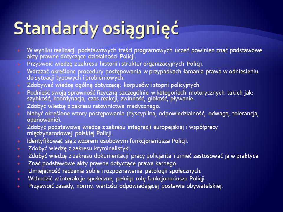 Standardy osiągnięć W wyniku realizacji podstawowych treści programowych uczeń powinien znać podstawowe akty prawne dotyczące działalności Policji.