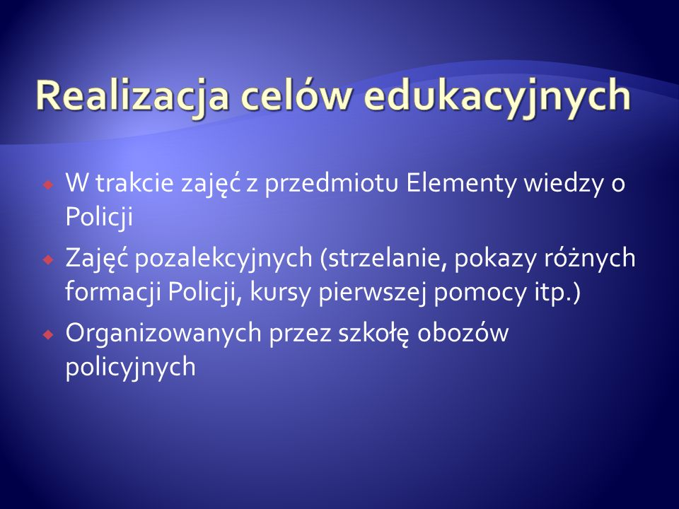 Realizacja celów edukacyjnych