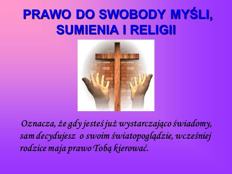 PRAWO DO SWOBODY MYŚLI, SUMIENIA I RELIGII