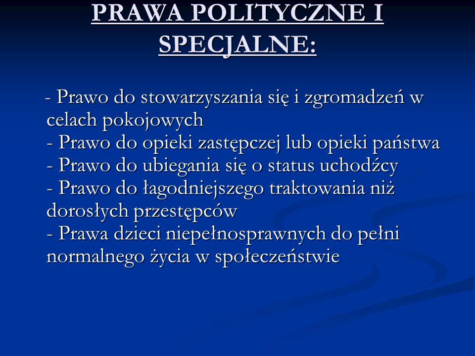 PRAWA POLITYCZNE I SPECJALNE: