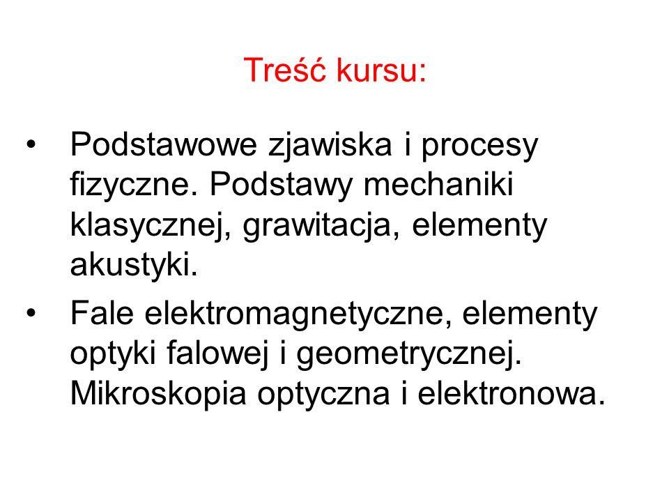 Treść kursu:Podstawowe zjawiska i procesy fizyczne. Podstawy mechaniki klasycznej, grawitacja, elementy akustyki.