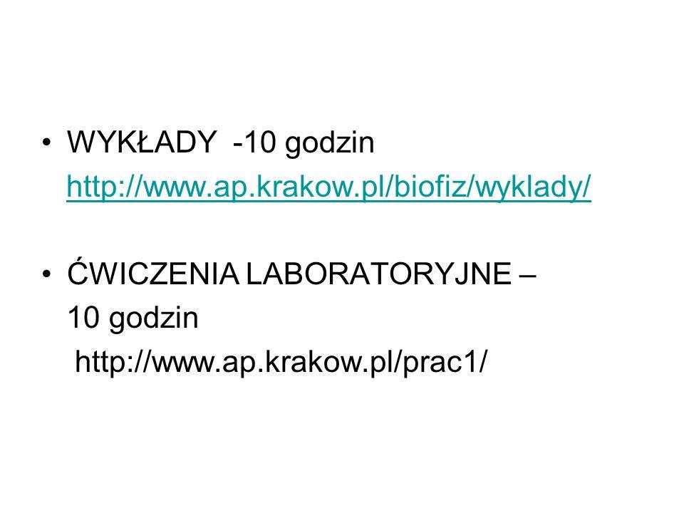 WYKŁADY -10 godzin http://www.ap.krakow.pl/biofiz/wyklady/ ĆWICZENIA LABORATORYJNE – 10 godzin.