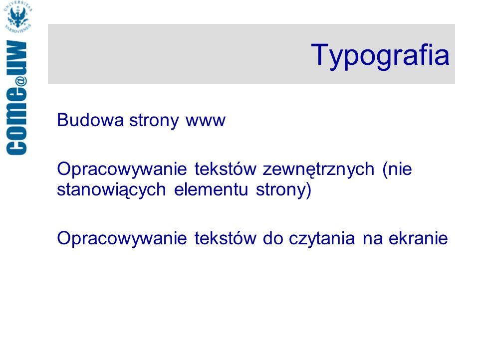 Typografia Budowa strony www
