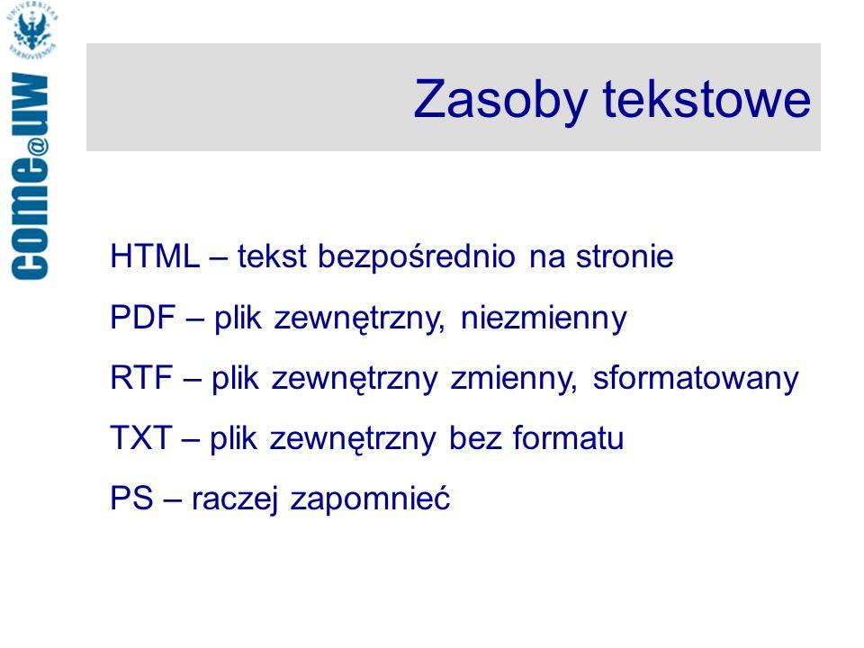 Zasoby tekstowe HTML – tekst bezpośrednio na stronie