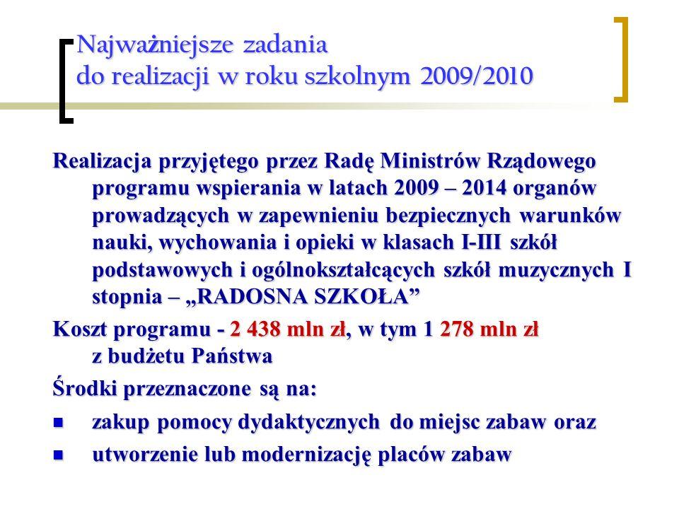 Najważniejsze zadania do realizacji w roku szkolnym 2009/2010