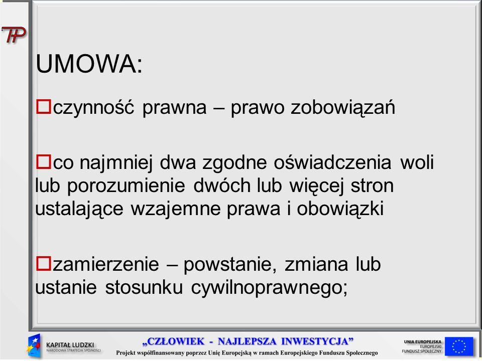 UMOWA: czynność prawna – prawo zobowiązań