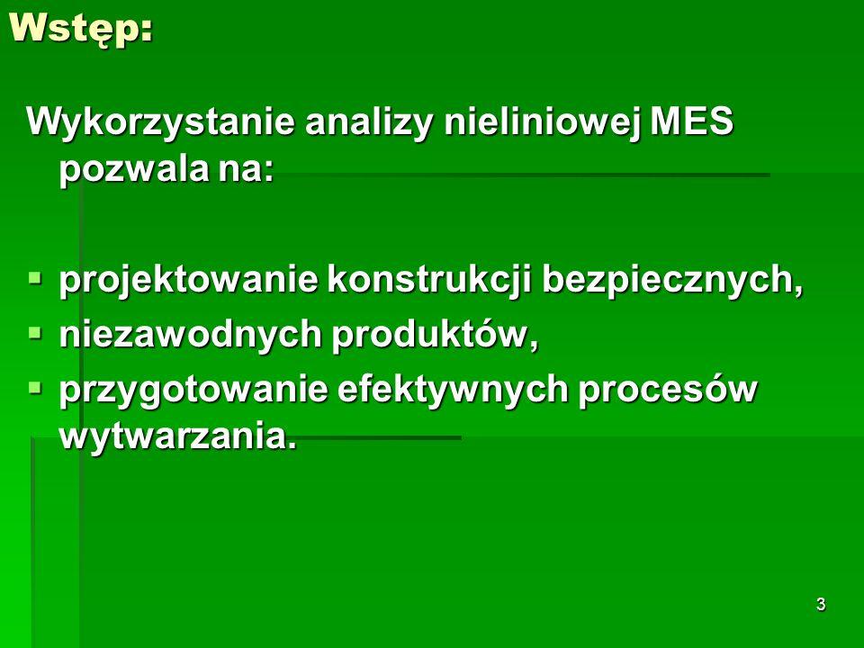 Wstęp:Wykorzystanie analizy nieliniowej MES pozwala na: projektowanie konstrukcji bezpiecznych, niezawodnych produktów,