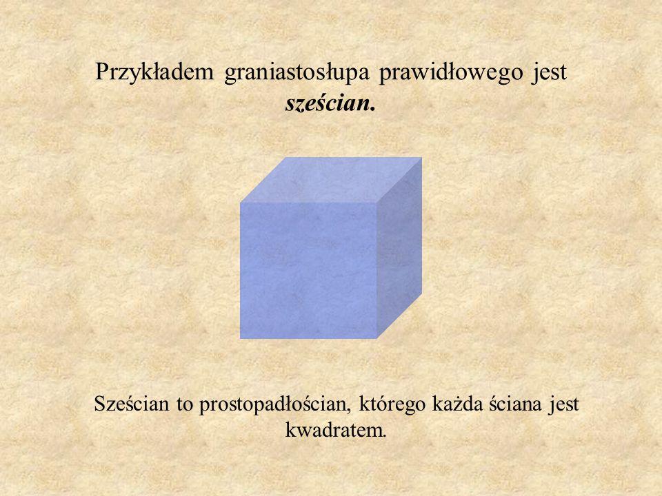 Przykładem graniastosłupa prawidłowego jest sześcian.