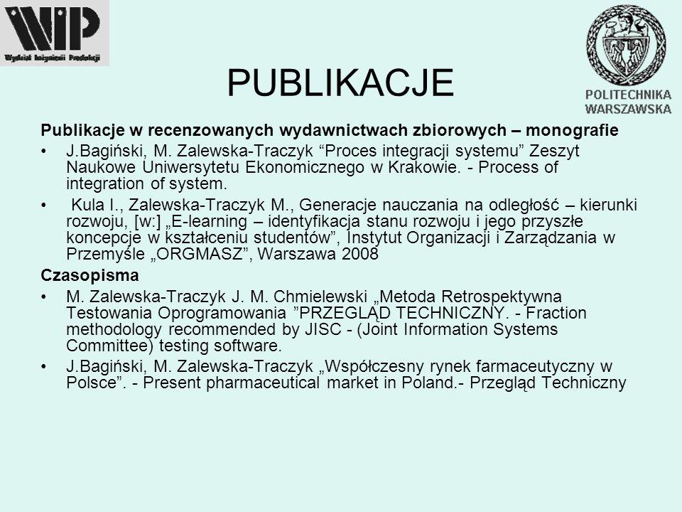 PUBLIKACJE Publikacje w recenzowanych wydawnictwach zbiorowych – monografie.