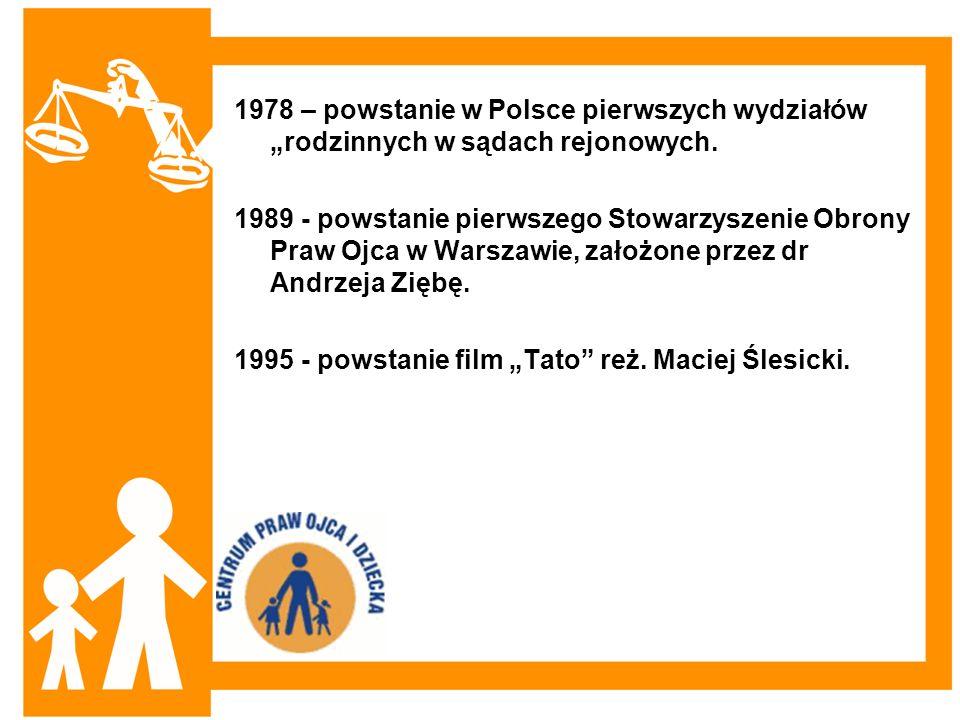 """1978 – powstanie w Polsce pierwszych wydziałów """"rodzinnych w sądach rejonowych."""