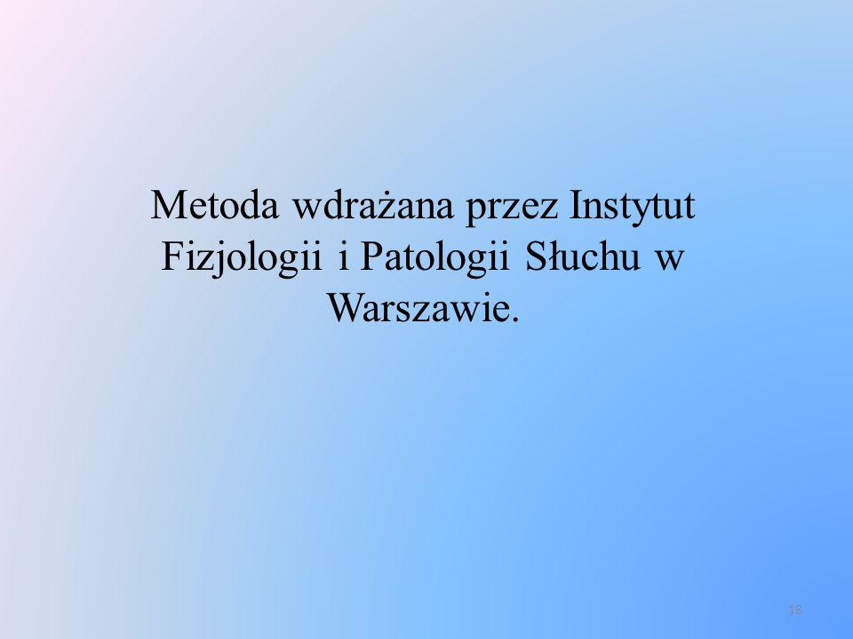 Metoda wdrażana przez Instytut Fizjologii i Patologii Słuchu w Warszawie.