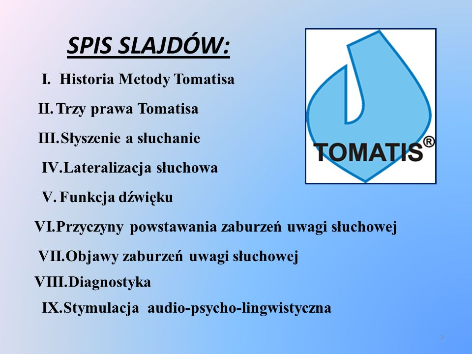 SPIS SLAJDÓW: Historia Metody Tomatisa Trzy prawa Tomatisa