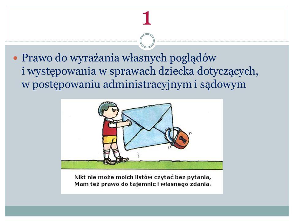 1 Prawo do wyrażania własnych poglądów i występowania w sprawach dziecka dotyczących, w postępowaniu administracyjnym i sądowym.
