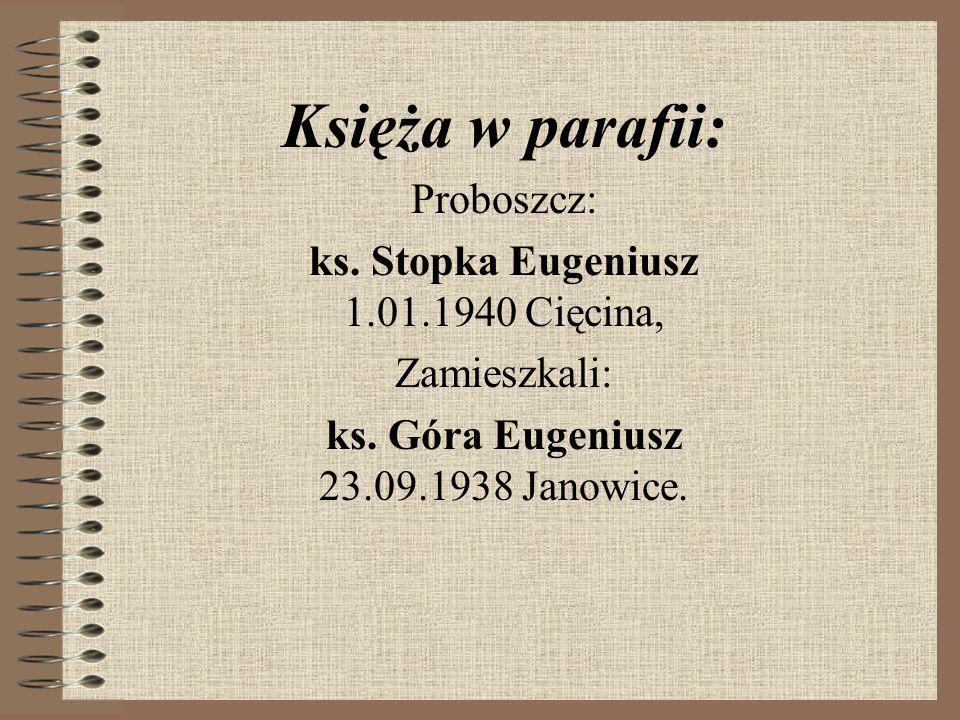Księża w parafii: Proboszcz: ks. Stopka Eugeniusz 1.01.1940 Cięcina,