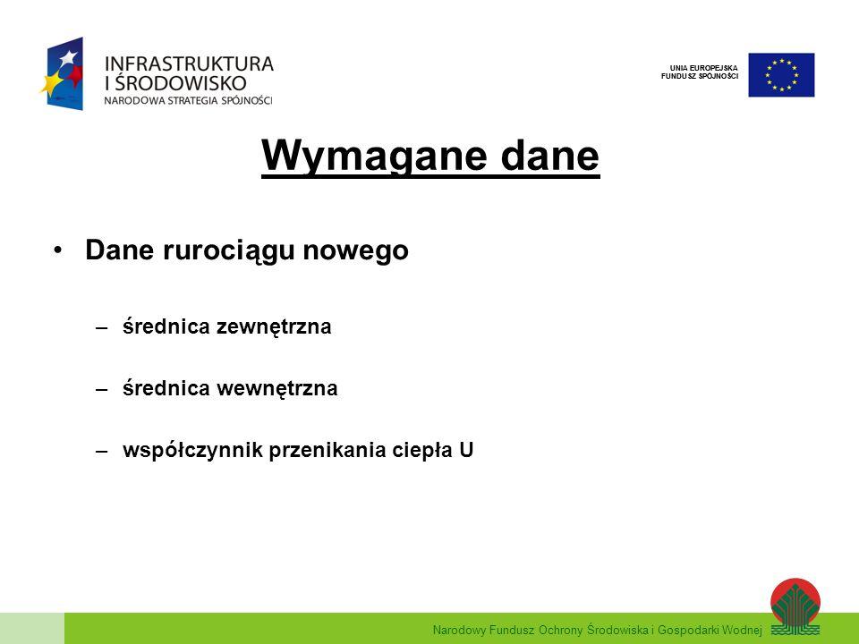Wymagane dane Dane rurociągu nowego średnica zewnętrzna