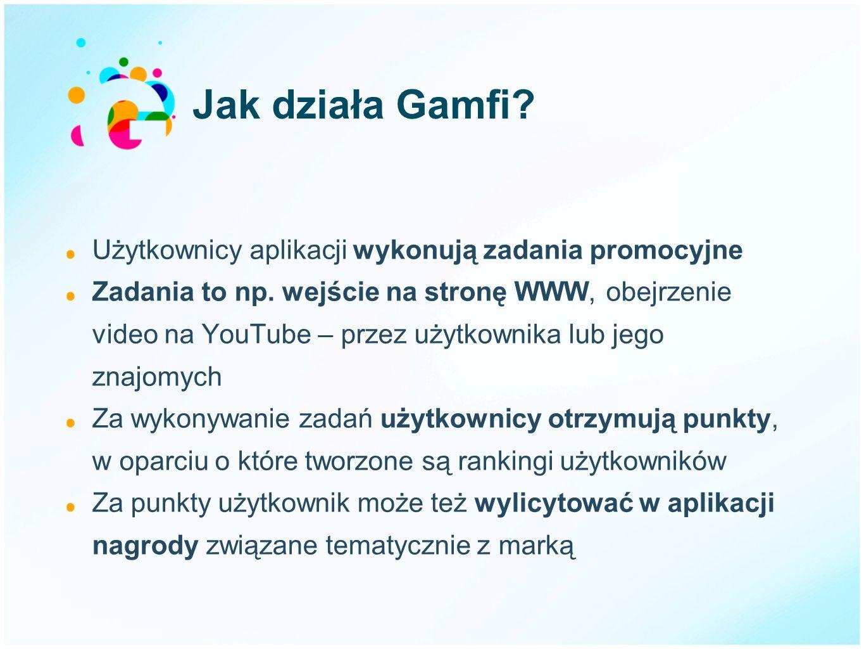 Jak działa Gamfi Użytkownicy aplikacji wykonują zadania promocyjne