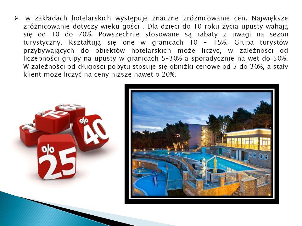 w zakładach hotelarskich występuje znaczne zróżnicowanie cen