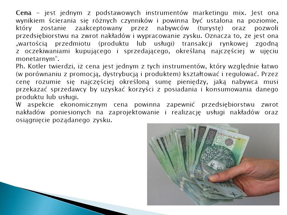 Cena - jest jednym z podstawowych instrumentów marketingu mix