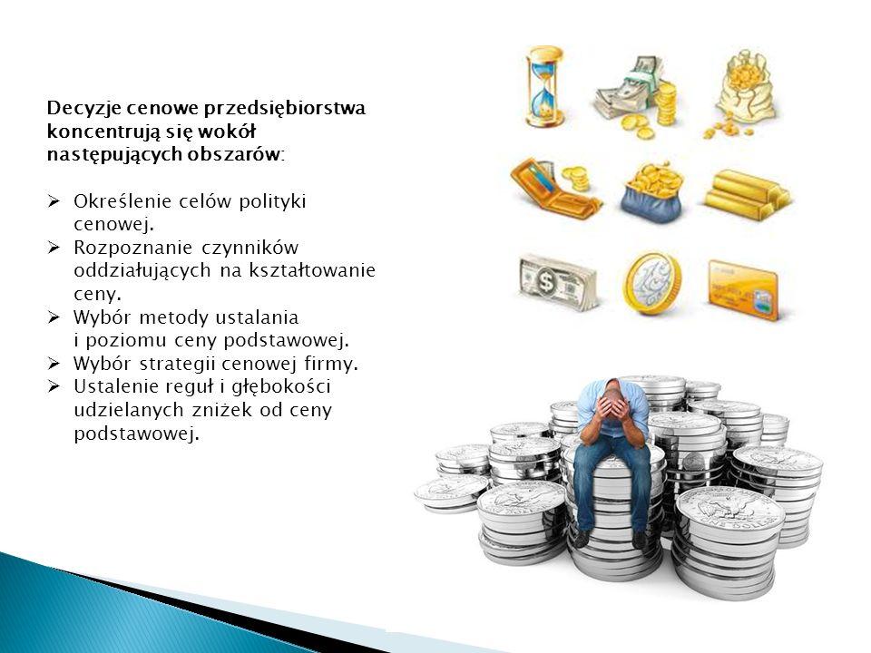 Decyzje cenowe przedsiębiorstwa koncentrują się wokół następujących obszarów: