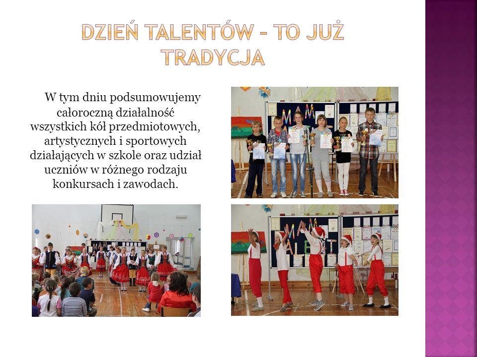 W tym dniu podsumowujemy całoroczną działalność wszystkich kół przedmiotowych, artystycznych i sportowych działających w szkole oraz udział uczniów w różnego rodzaju konkursach i zawodach.