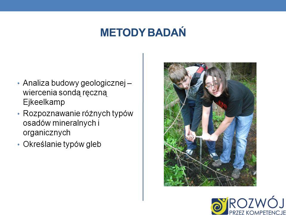 Metody Badań Analiza budowy geologicznej – wiercenia sondą ręczną Ejkeelkamp. Rozpoznawanie różnych typów osadów mineralnych i organicznych.