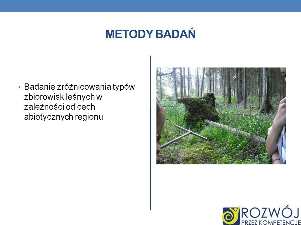 Metody Badań Badanie zróżnicowania typów zbiorowisk leśnych w zależności od cech abiotycznych regionu.