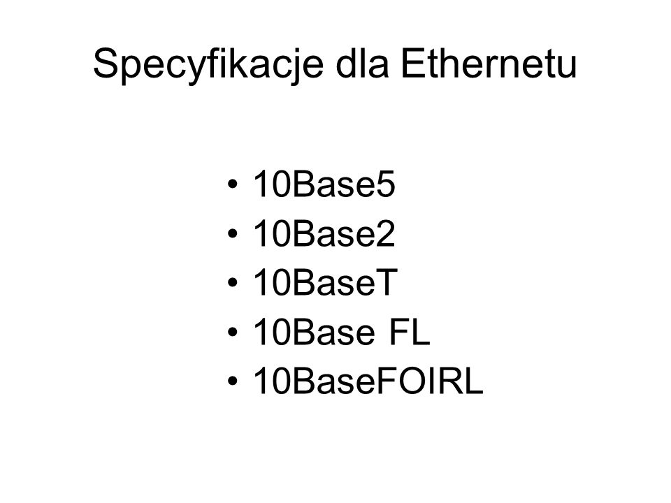 Specyfikacje dla Ethernetu
