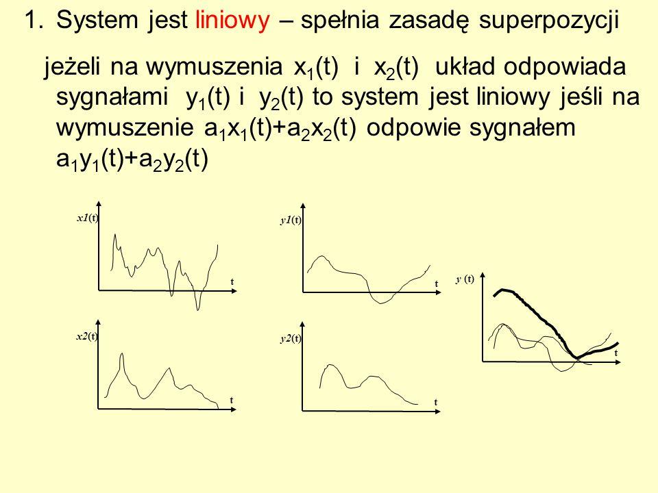 System jest liniowy – spełnia zasadę superpozycji