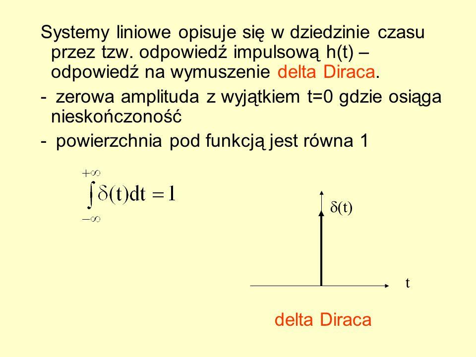 zerowa amplituda z wyjątkiem t=0 gdzie osiąga nieskończoność
