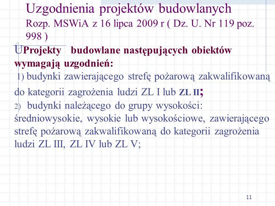 Uzgodnienia projektów budowlanych Rozp. MSWiA z 16 lipca 2009 r ( Dz. U. Nr 119 poz. 998 )