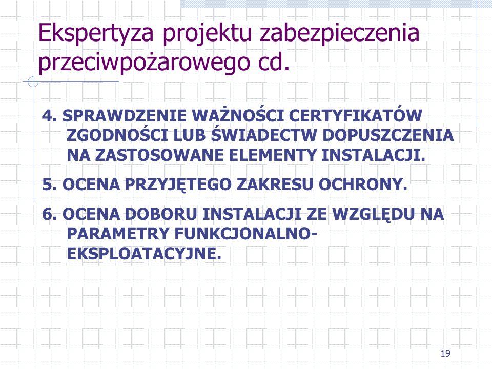Ekspertyza projektu zabezpieczenia przeciwpożarowego cd.