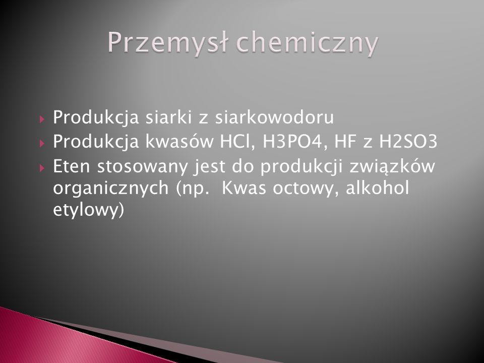 Przemysł chemiczny Produkcja siarki z siarkowodoru