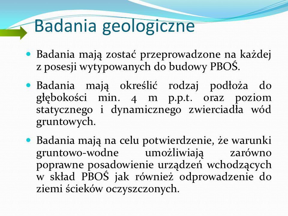 Badania geologiczne Badania mają zostać przeprowadzone na każdej z posesji wytypowanych do budowy PBOŚ.