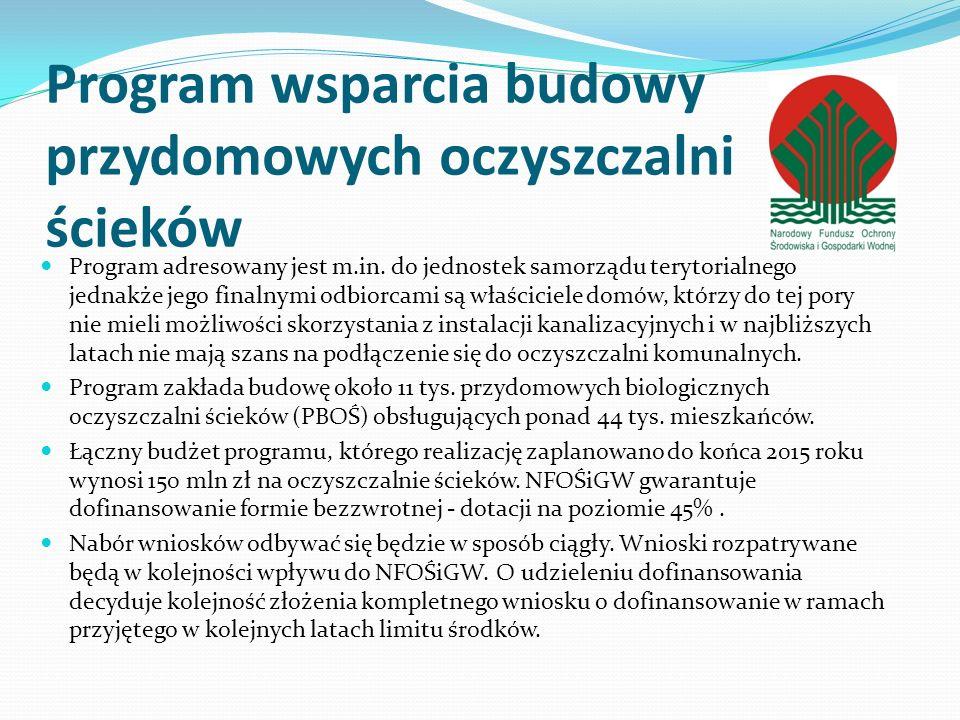 Program wsparcia budowy przydomowych oczyszczalni ścieków