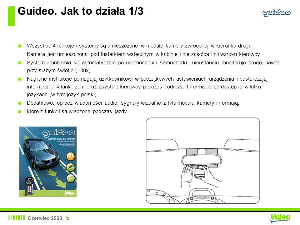 Guideo. Jak to działa 1/3 Wszystkie 4 funkcje / systemy są umieszczone w module kamery zwróconej w kierunku drogi.