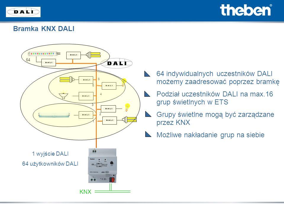 64 indywidualnych uczestników DALI możemy zaadresować poprzez bramkę