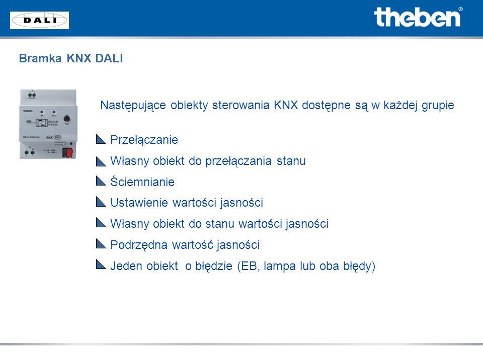 Bramka KNX DALI Następujące obiekty sterowania KNX dostępne są w każdej grupie. Przełączanie. Własny obiekt do przełączania stanu.