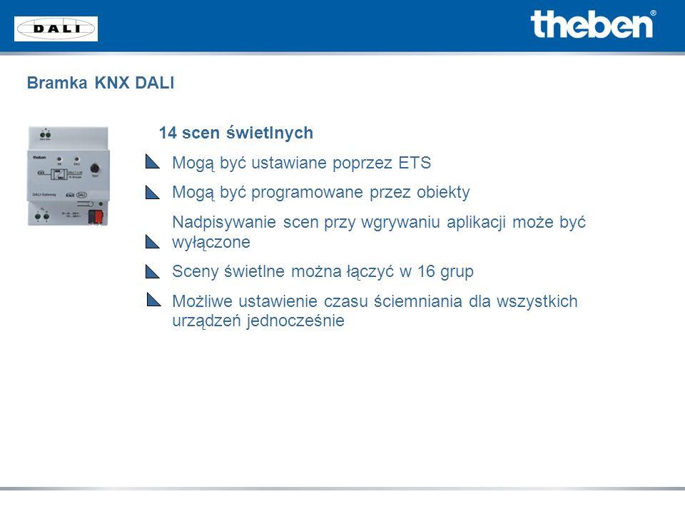 Bramka KNX DALI 14 scen świetlnych. Mogą być ustawiane poprzez ETS. Mogą być programowane przez obiekty.