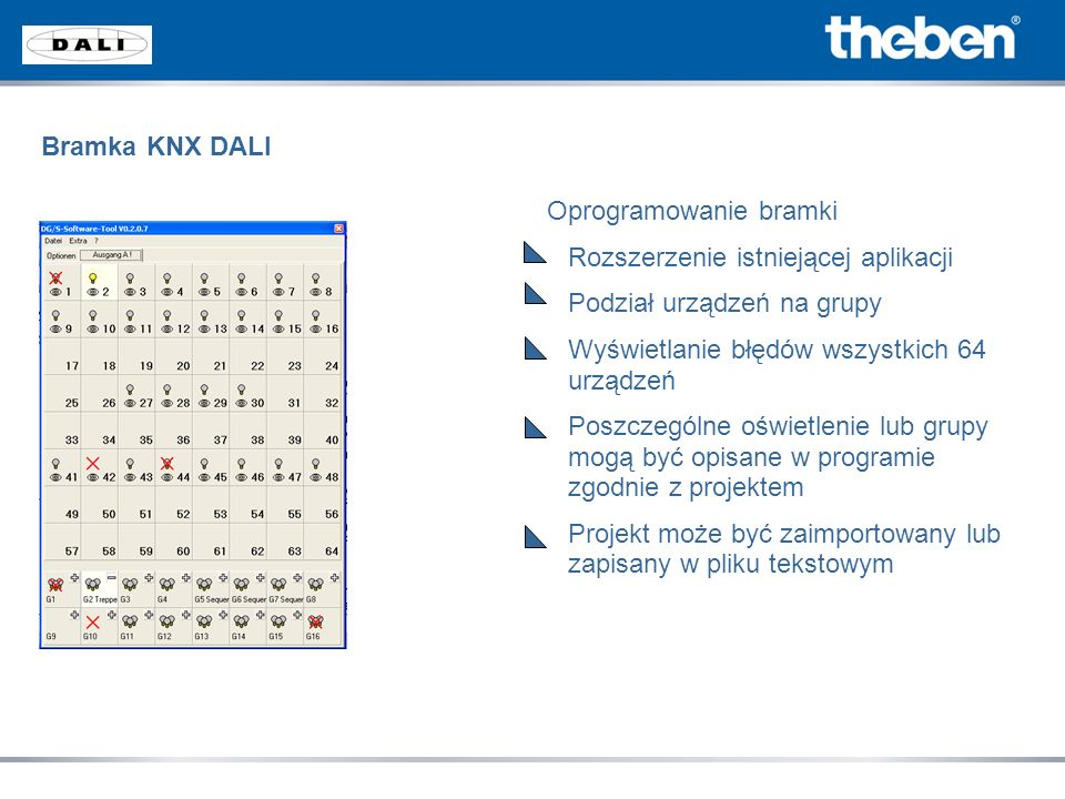 Bramka KNX DALI Oprogramowanie bramki. Rozszerzenie istniejącej aplikacji. Podział urządzeń na grupy.