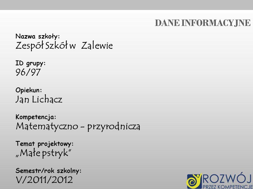 """Matematyczno - przyrodnicza """"Małe pstryk V/2011/2012"""