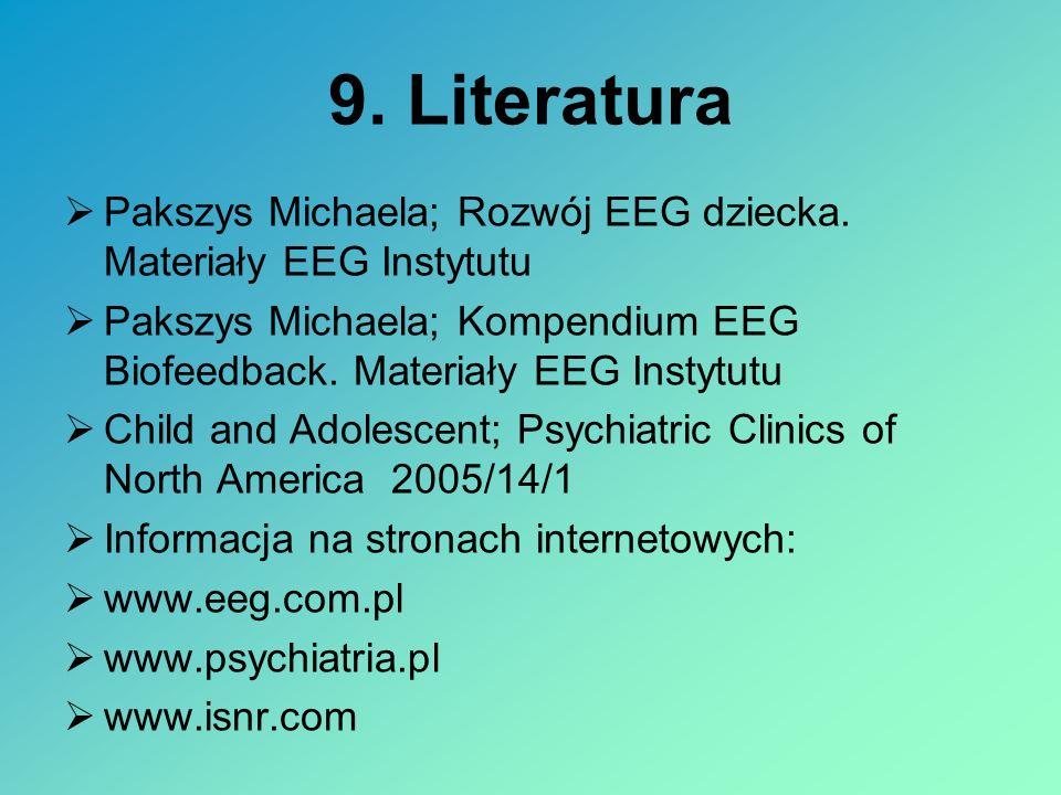9. Literatura Pakszys Michaela; Rozwój EEG dziecka. Materiały EEG Instytutu. Pakszys Michaela; Kompendium EEG Biofeedback. Materiały EEG Instytutu.