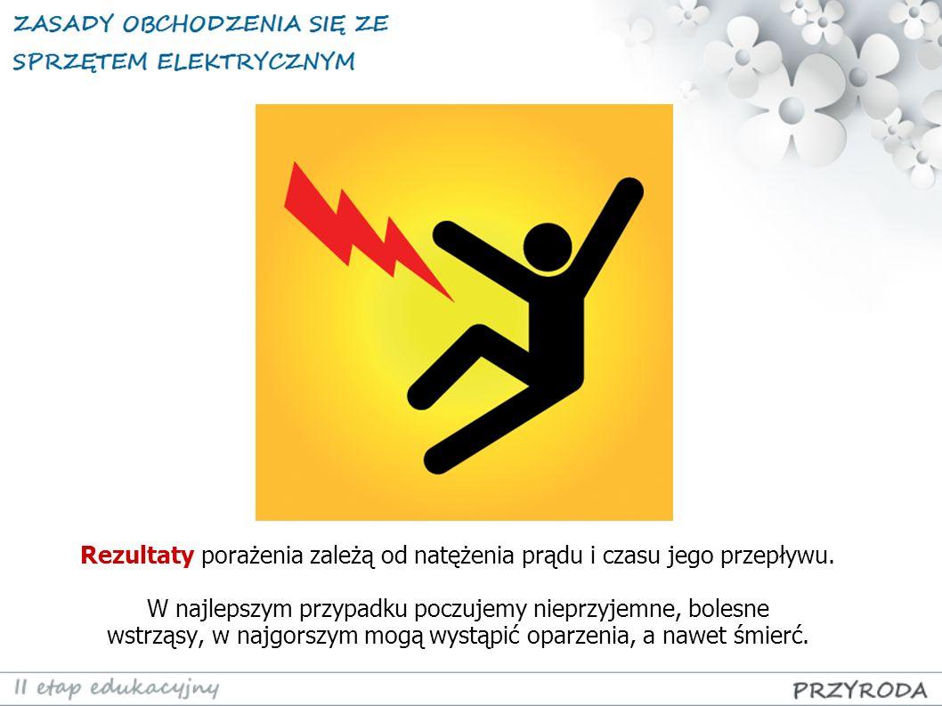 Rezultaty porażenia zależą od natężenia prądu i czasu jego przepływu