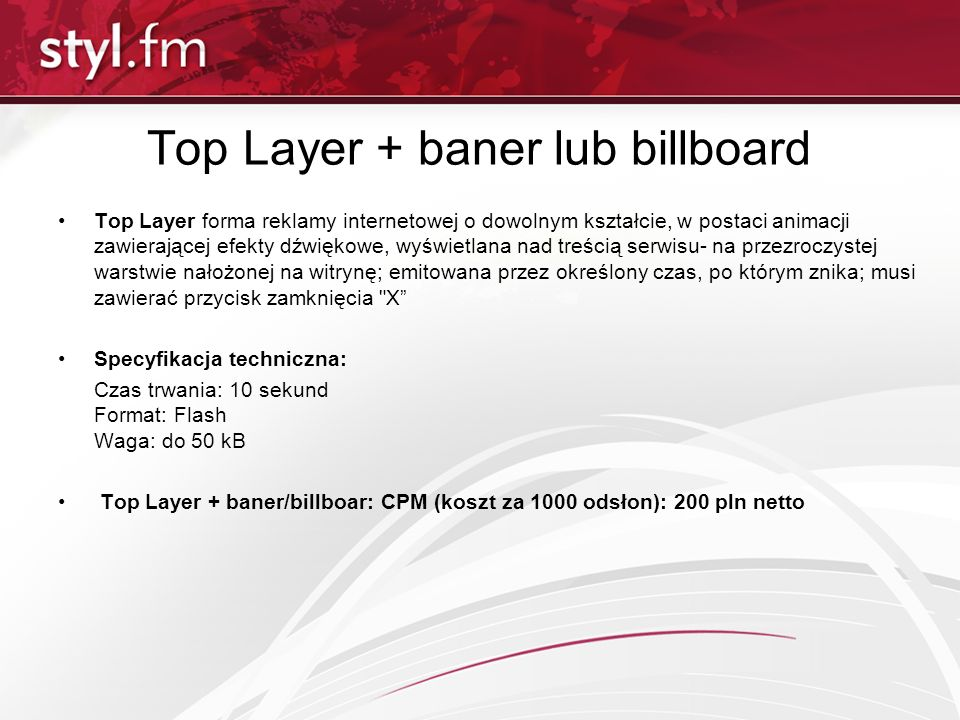 Top Layer + baner lub billboard