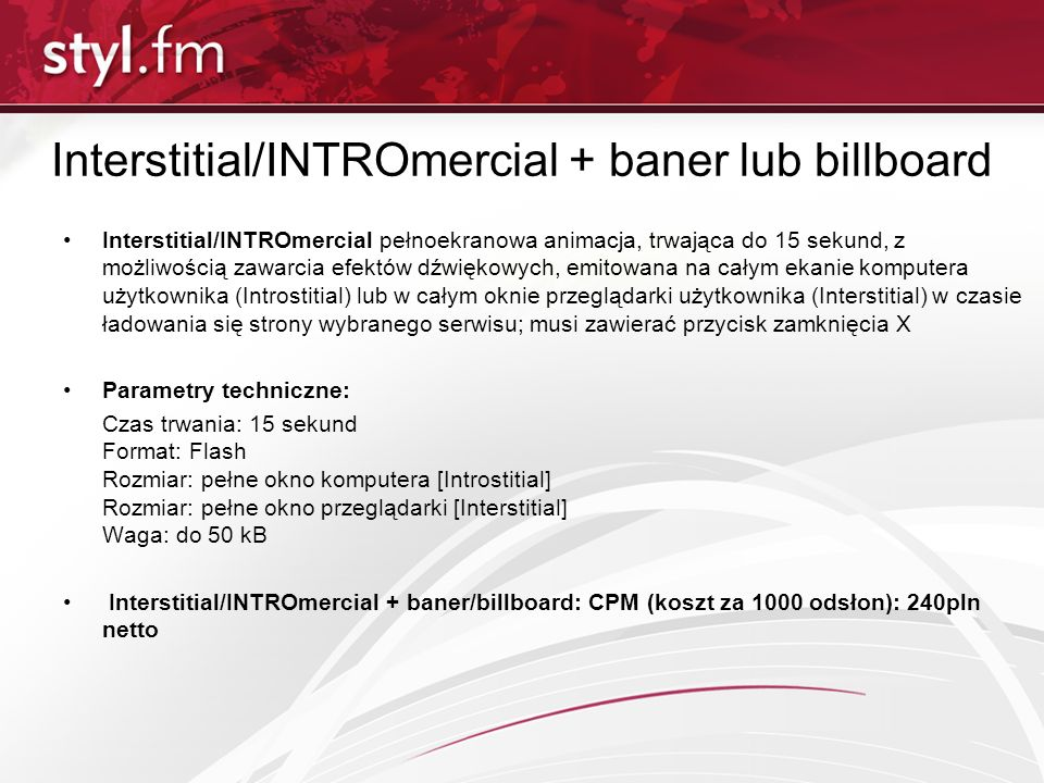 Interstitial/INTROmercial + baner lub billboard