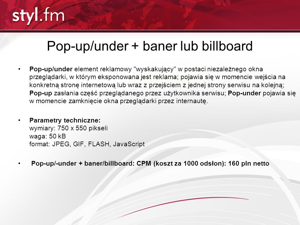 Pop-up/under + baner lub billboard