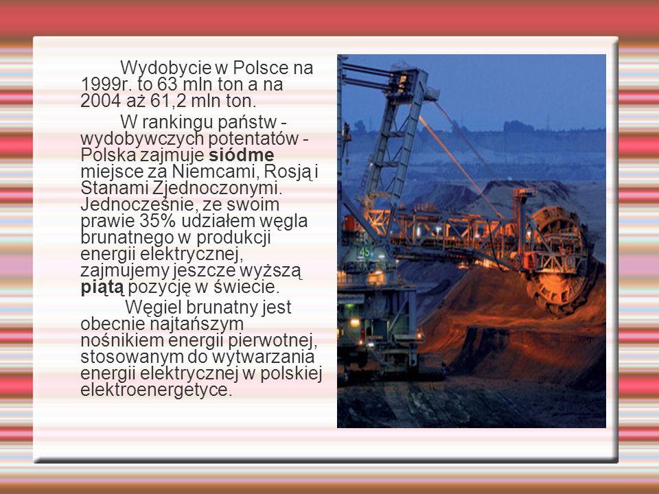Wydobycie w Polsce na 1999r. to 63 mln ton a na 2004 aż 61,2 mln ton.
