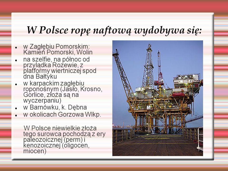 W Polsce ropę naftową wydobywa się: